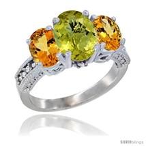Size 6 - 10K White Gold Ladies Natural Lemon Quartz Oval 3 Stone Ring with  - $622.33