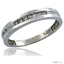 Size 11 - 14k White Gold Men's Diamond Ring Band w/ 0.15 Carat Brilliant Cut  - $616.90