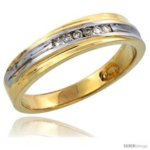 Size 8.5 - 14k Gold Men's Diamond Band w/ Rhodium Accent, w/ 0.09 Carat  - $782.81