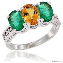 An item in the Jewelry & Watches category: Size 7.5 - 10K White Gold Natural Citrine & Emerald Ring 3-Stone Oval 7x5 mm
