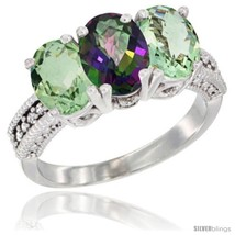 Size 5 - 14K White Gold Natural Mystic Topaz & Green Amethyst Ring 3-Sto... - £557.31 GBP