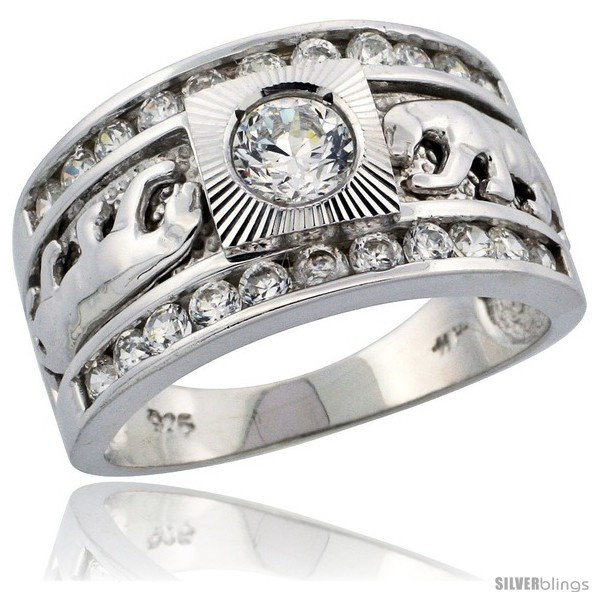 Sterling silver mens double panther solitaire ring brilliant cut cz stones 1 2 in 12 mm wide