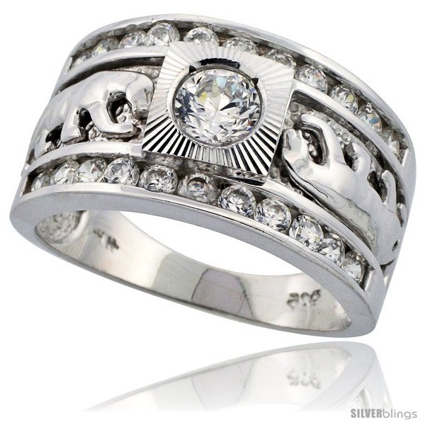 Size 11 - Sterling Silver Men's Double Panther Solitaire Ring Brilliant Cut CZ