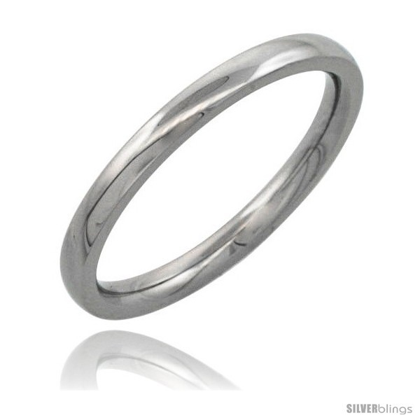 Size 10 - Surgical Steel 2mm Domed Wedding Band Thumb / Toe Ring Comfort-Fit