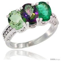 Size 9.5 - 14K White Gold Natural Green Amethyst, Mystic Topaz & Emerald... - $764.47