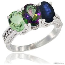 Size 6.5 - 14K White Gold Natural Green Amethyst, Mystic Topaz & Blue Sa... - $776.06
