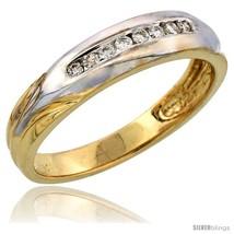Size 9 - 14k Gold Men's Diamond Band w/ Rhodium Accent, w/ 0.15 Carat Brilliant  - $688.06