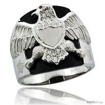 Size 11 - Sterling Silver Men's Black Onyx American Eagle Ring CZ Stones... - $70.56