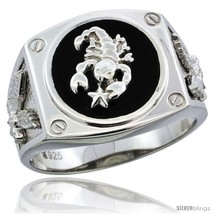 Size 11 - Sterling Silver Men's Black Onyx Scorpion Ring Screw Accents &  - $61.15