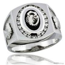 Size 12 - Sterling Silver Men's Black Onyx Scorpion Ring CZ Stones & Hor... - $68.99