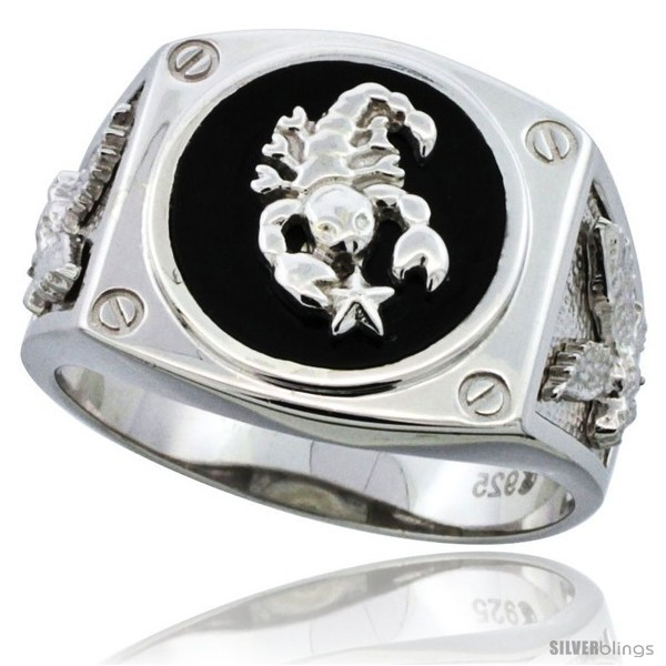 wide Sterling Silver Mens Black Onyx American Eagle Ring w// CZ Stones 16mm 5//8 in. size 8