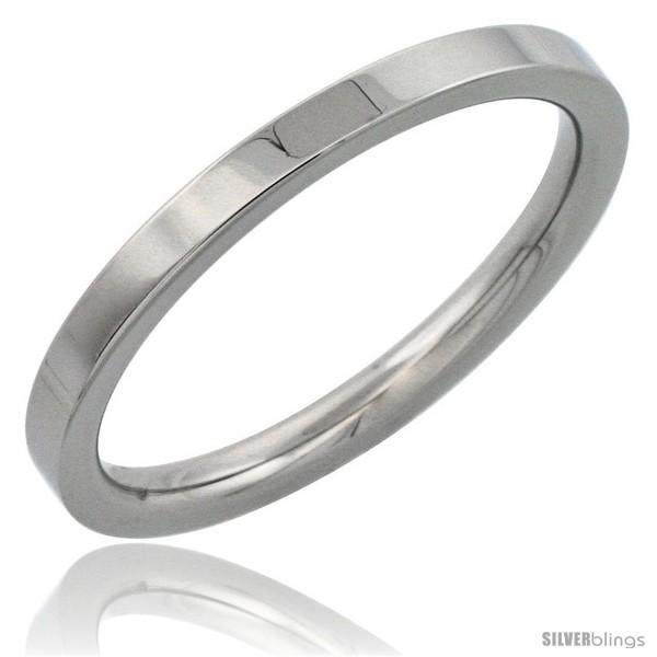 Size 8 - Surgical Steel 2mm Wedding Band Thumb / Toe Ring Comfort-Fit High