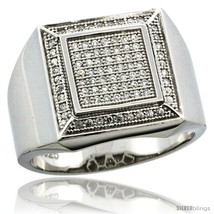 Size 11 - Sterling Silver Men's Large Square Ring 85 Micro Pave CZ Stones,  - $85.26