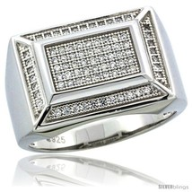 Size 12 - Sterling Silver Men's Rectangular Ring 81 Micro Pave CZ Stones,  - $86.24
