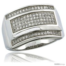 Size 10 - Sterling Silver Men's Large Rectangular Ring 90 Micro Pave CZ ... - $95.06