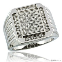 Size 9 - Sterling Silver Men's Large Rectangular Ribbed Ring 97 Micro Pa... - $155.76