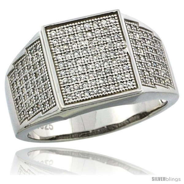 Sterling silver mens square ring 170 micro pave cz stones 1 2 in 12 mm wide