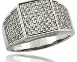Sterling silver mens square ring 170 micro pave cz stones 1 2 in 12 mm wide thumb155 crop