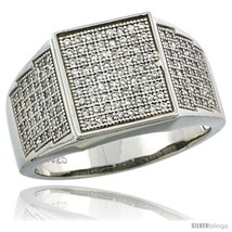 Sterling silver mens square ring 170 micro pave cz stones 1 2 in 12 mm wide thumb200