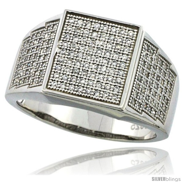 Size 13 - Sterling Silver Men's Square Ring 170 Micro Pave CZ Stones, 1/2 in