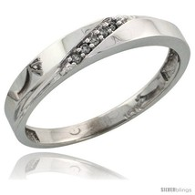 Size 5.5 - Sterling Silver Ladies' Diamond Band, w/ 0.03 Carat Brilliant... - $32.30