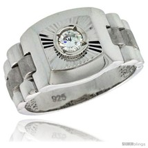 Size 10 - Sterling Silver Men's Style Ring CZ Stone, 1/2 in (13 mm)  - $60.38