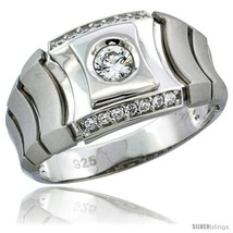 Size 8 - Sterling Silver Men's Style Ring CZ Stones, 1/2 in (12 mm)  - $53.31