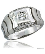 Sterling silver mens style ring cz stones 1 2 in 12 mm wide thumbtall