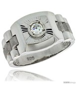 Sterling silver mens style ring cz stone 1 2 in 13 mm wide thumbtall