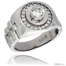 Size 11 - Sterling Silver Men's Style Round Ring Brilliant Cut Cubic Zir... - £66.57 GBP