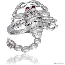 Size 9 - Sterling Silver Men's Scorpion Ring Brilliant Cut Cubic Zirconia  - $51.50