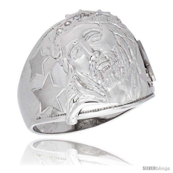Primary image for Size 11 - Sterling Silver Men's Jesus Christ Ring Brilliant Cut Cubic Zirconia