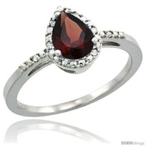 Size 5 - Sterling Silver Diamond Natural Garnet Ring 0.59 ct Tear Drop 7x5  - £73.81 GBP