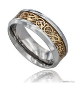 Size 10.5 - Surgical Steel Celtic Dragon Wedding Band Ring Gold Color 8mm  - £27.55 GBP