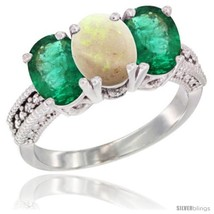 Size 9 - 10K White Gold Natural Opal & Emerald Ring 3-Stone Oval 7x5 mm ... - $631.04