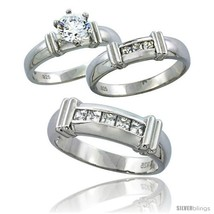Size 8 - Sterling Silver Cubic Zirconia Trio Engagement Wedding Ring Set... - $103.42