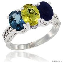 Size 7 - 10K White Gold Natural London Blue Topaz, Coral & Lapis Ring 3-... - $540.72