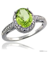 Size 7 - Sterling Silver Diamond Vintage Style Oval Peridot Stone Ring R... - £110.43 GBP