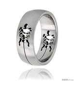 Size 7 - Surgical Steel Turtle Ring 8mm Domed Wedding Band Cut-out  - £10.35 GBP