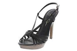 Jessica Simpson New Saturday Black Leather Platform Strappy Sandals Heels 10B/40 - $34.99