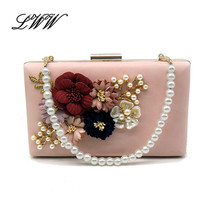 Fashion Colorful Flowers Party Ladies Evening Clutch Bags Appliques Chai... - $30.22+