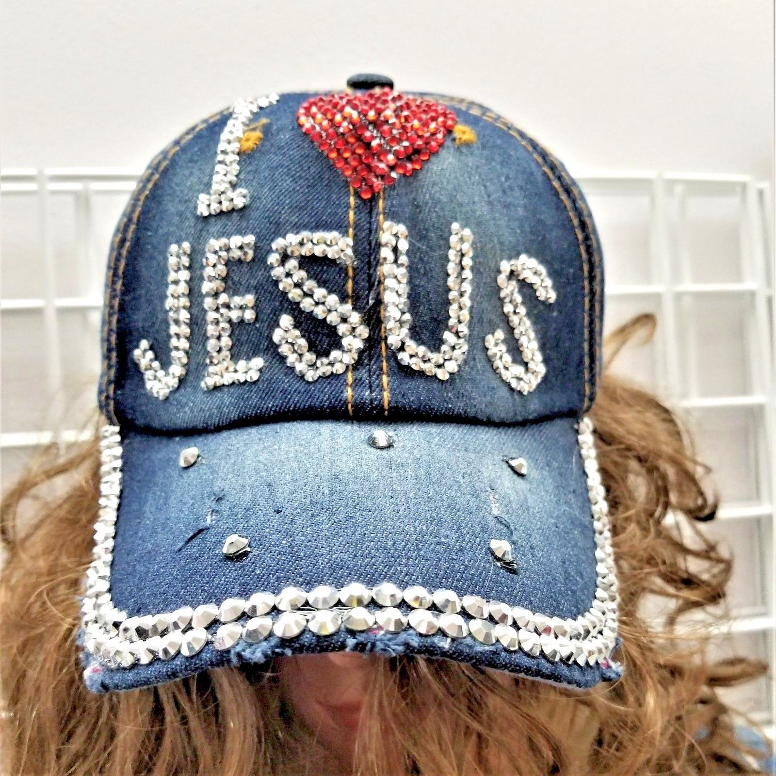 356bccd3a93 Denim I Love Jesus Ladies Ball Cap
