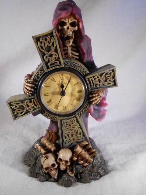 Grim Reaper Mantel Clock Medieval Gothic Halloween Decor