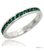 Size 9 - Sterling Silver Eternity Band, w/ May Birthstone, Emerald Crystals,  - £15.44 GBP