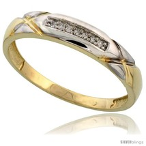 Size 12.5 - Gold Plated Sterling Silver Mens Diamond Wedding Band, 3/16 in  - $79.42