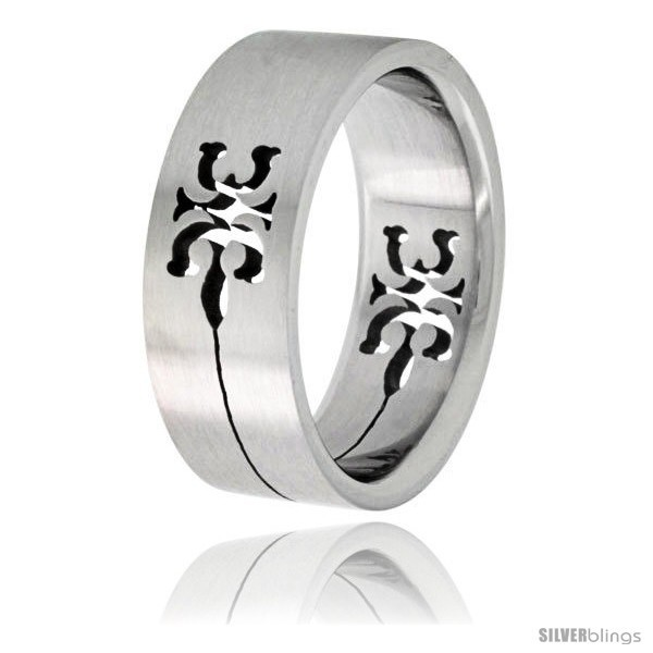 Size 11 - Surgical Steel Tribal Gecko Ring 8mm Wedding Band -Style