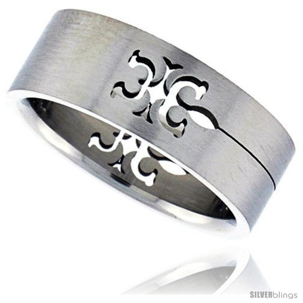Size 13 - Surgical Steel Tribal Gecko Ring 8mm Wedding Band -Style