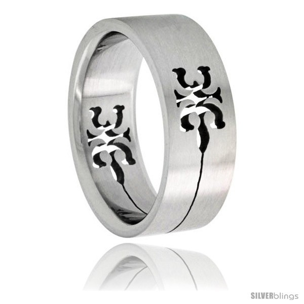 Size 14 - Surgical Steel Tribal Gecko Ring 8mm Wedding Band -Style