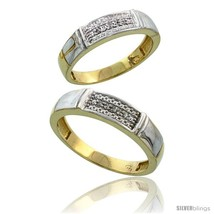 An item in the Jewelry & Watches category: Size 5.5 - Gold Plated Sterling Silver Diamond 2 Piece Wedding Ring Set His 5mm