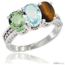 Size 6.5 - 14K White Gold Natural Green Amethyst, Aquamarine & Tiger Eye... - $743.97
